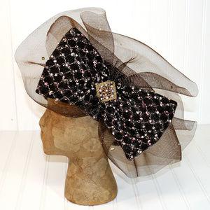 DONNA VINCI COUTURE Church Derby Brown Bow Hat